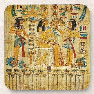 Ancient Egypt Tapestry Scroll Heirogliphics Coaster