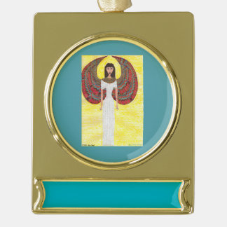 Ancient Egyptian Angel Gold Plated Banner Ornament