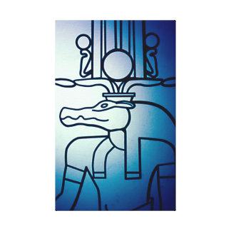 Ancient Egyptian Blue Hieroglyph Art Canvas Canvas Print