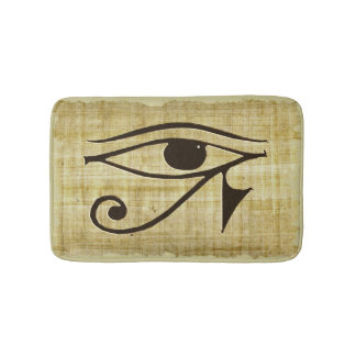 Ancient Egyptian Eye of Horus on Faux Papyrus Bath Mat
