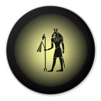 Ancient Egyptian ~ Hieroglyphics ~ On Gold & Black Ceramic Knob