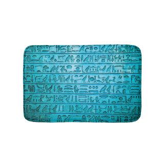 Ancient Egyptian Hieroglyphs Blue Bathroom Mat