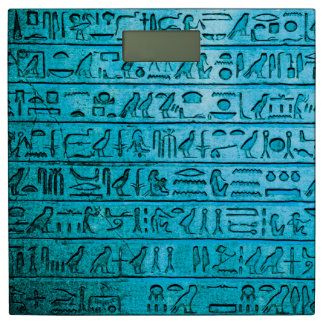 Ancient Egyptian Hieroglyphs Blue Bathroom Scale