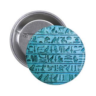 Ancient Egyptian Hieroglyphs Blue Button