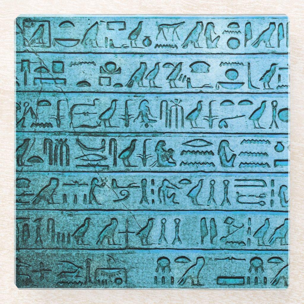 Ancient Egyptian Hieroglyphs Blue Glass Coaster