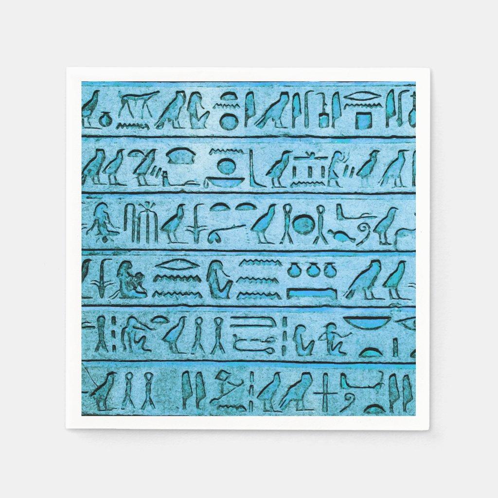 Ancient Egyptian Hieroglyphs Blue Paper Napkin