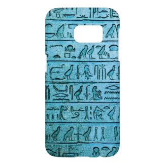 Ancient Egyptian Hieroglyphs Blue