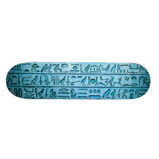 Ancient Egyptian Hieroglyphs Blue Skateboard