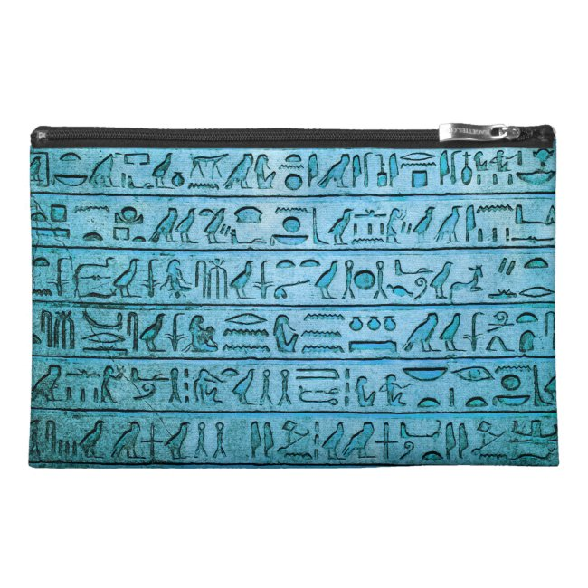 Ancient Egyptian Hieroglyphs Blue