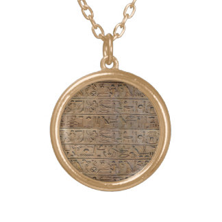 Ancient Egyptian Hieroglyphs Designer Gift Gold Plated Necklace