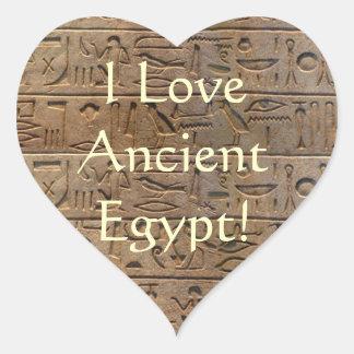 Ancient Egyptian Hieroglyphs Designer Gift Heart Sticker