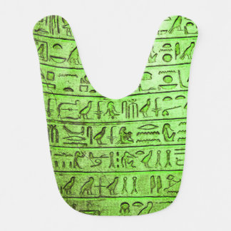 Ancient Egyptian Hieroglyphs Green Baby Bib