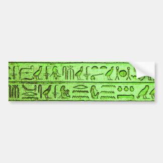 Ancient Egyptian Hieroglyphs Green Bumper Sticker