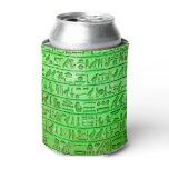 Ancient Egyptian Hieroglyphs Green Can Cooler