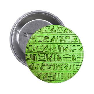 Ancient Egyptian Hieroglyphs Green Pinback Button