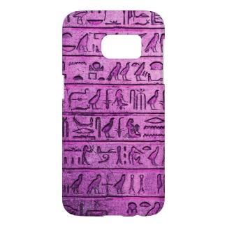 Ancient Egyptian Hieroglyphs Purple