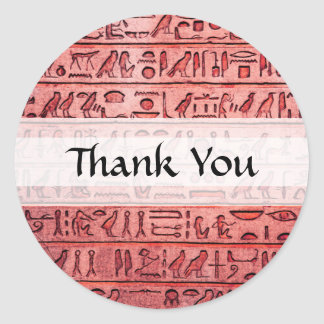 Ancient Egyptian Hieroglyphs Red Classic Round Sticker
