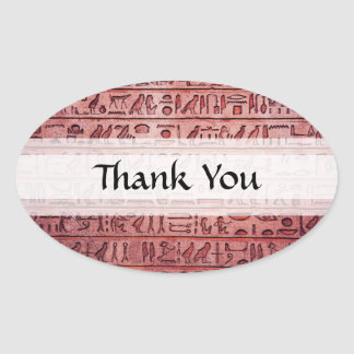 Ancient Egyptian Hieroglyphs Red Oval Sticker