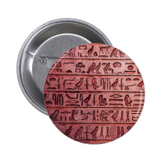 Ancient Egyptian Hieroglyphs Red Pinback Button