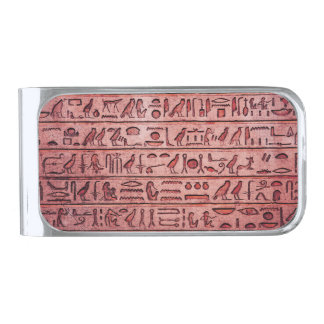 Ancient Egyptian Hieroglyphs Red Silver Finish Money Clip
