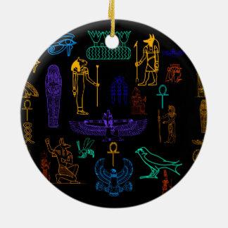 Ancient Egyptian Hieroglyphs & Symbols Ceramic Ornament