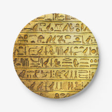 Ancient Hieroglyphs Yellow Paper Plates