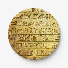 Ancient Hieroglyphs Yellow Paper Plates