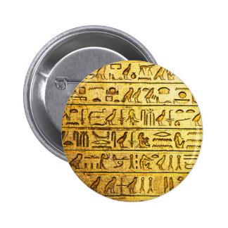 Ancient Egyptian Hieroglyphs Yellow Button