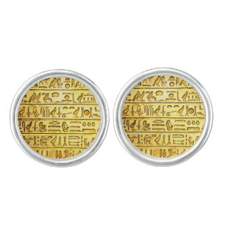 Ancient Egyptian Hieroglyphs Yellow Cufflinks