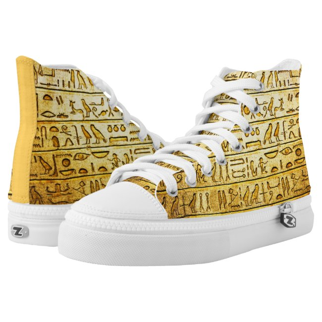 Ancient Egyptian Hieroglyphs Yellow High Top