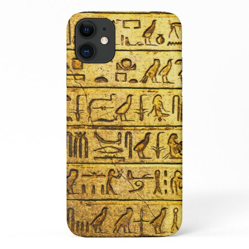 Ancient Egyptian Hieroglyphs Yellow iPhone 11 Case