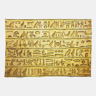 Ancient Egyptian Hieroglyphs Yellow Kitchen Towel