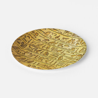 Ancient Egyptian Hieroglyphs Yellow Paper Plates