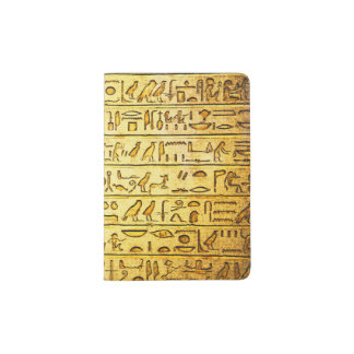 Ancient Egyptian Hieroglyphs Yellow Passport Holder
