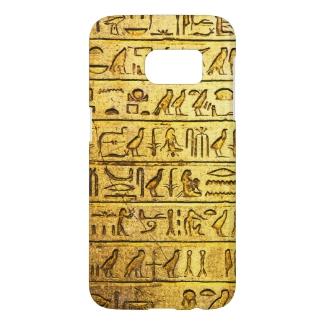 Ancient Egyptian Hieroglyphs Yellow