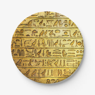 Ancient Egyptian Hieroglyphs Yellow 7 Inch Paper Plate