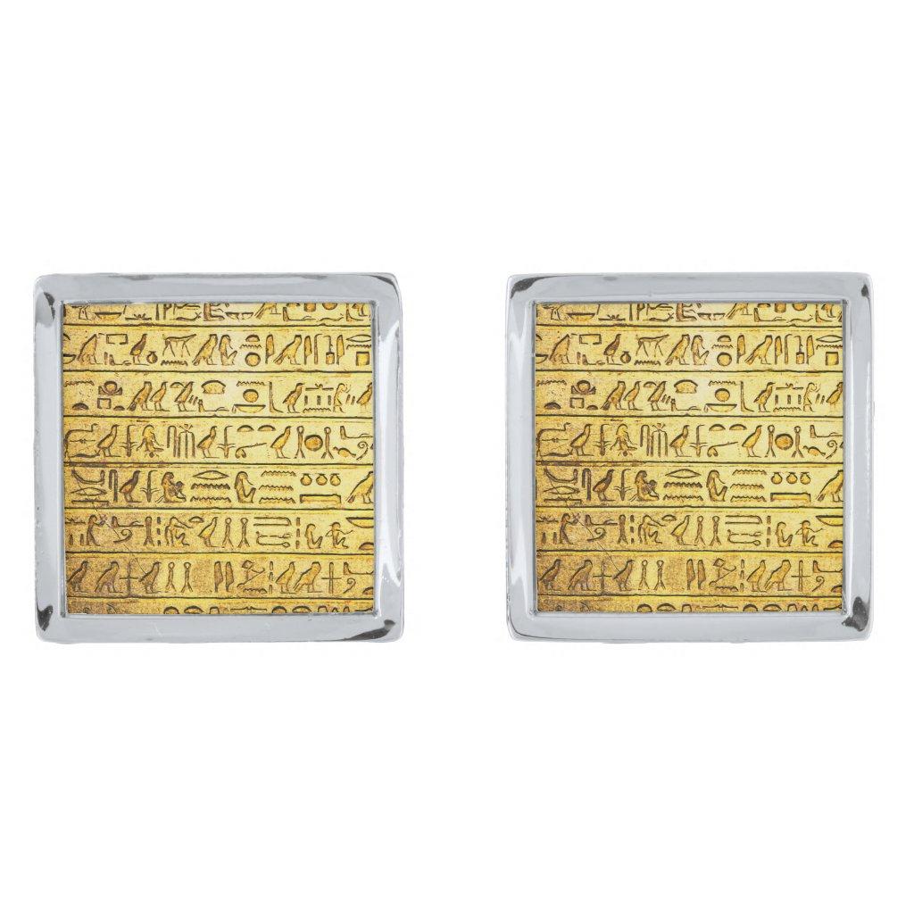 Ancient Egyptian Hieroglyphs Yellow Silver Cufflinks