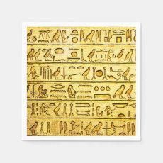 Ancient Hieroglyphs Yellow Paper Napkins