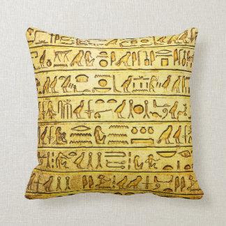 Ancient Egyptian Hieroglyphs - Yellow Throw Pillow