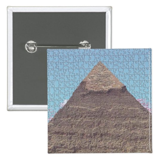 ANCIENT EGYPTIAN KHUFU PYRAMID PUZZLE BADGE. PINBACK BUTTON