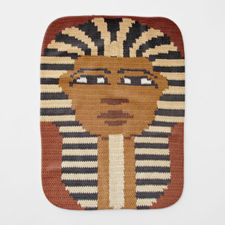 Ancient Egyptian Pharaoh King Brown Crochet Print Burp Cloth