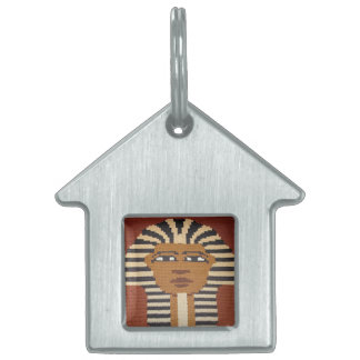 Ancient Egyptian Pharaoh King Tut Brown Crochet Pet Name Tags