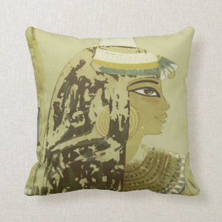 Ancient Egyptian Queen Headdress Vintage Travel Throw Pillow