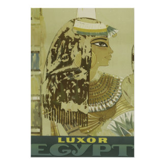 Ancient Egyptian Queen Vintage Luxor Travel Poster
