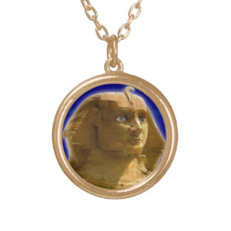 Ancient Egyptian Sphinx at Giza Art Design Gold Plated Necklace