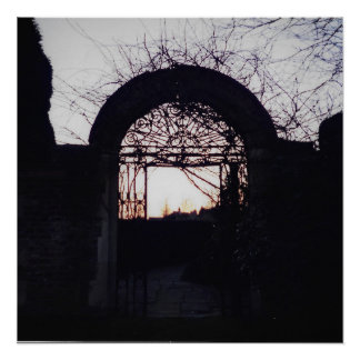 Ancient English Gate Silhouette - Poster