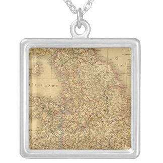 Ancient English Map Silver Plated Necklace