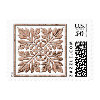 Ancient english tile cool faded brown postage