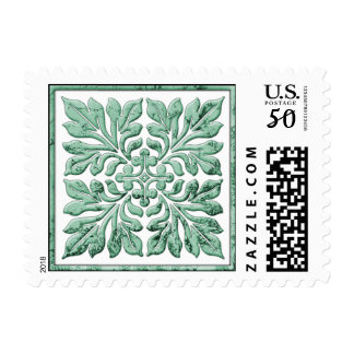 Ancient english tile cool faded green postage