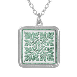 Ancient english tile cool faded green silver plated necklace